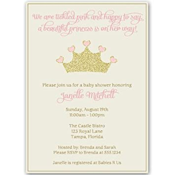 Princess, Baby Shower Invitations, Girl, Pink, Gold, Crown, Sparkle,