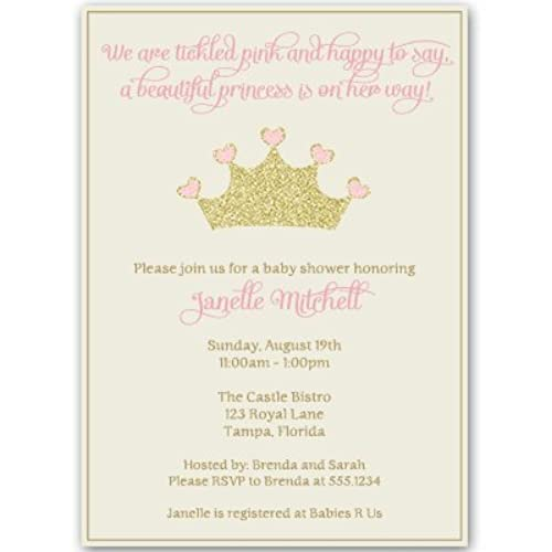 Princess, Baby Shower Invitations, Girl, Pink, Gold, Crown, Sparkle, Bling,  Glitter, Sprinkle, Ivory, Blush,Tiara, Set Of 10 Custom Printed Invites  With ...