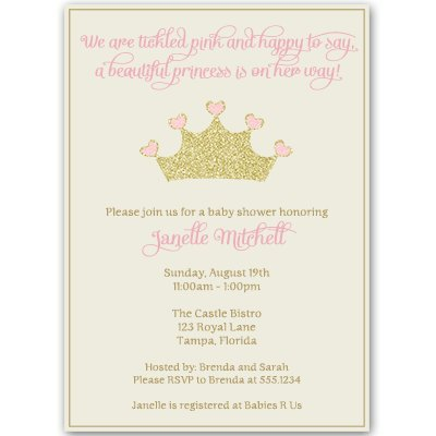 Princess, Baby Shower Invitations, Girl, Pink, Gold, Crown, Sparkle, Bling, Glitter, Sprinkle, Ivory, Blush,Tiara, Set of 10 Custom Printed Invites with White Envelopes Pretty - Custom Printed Invitations