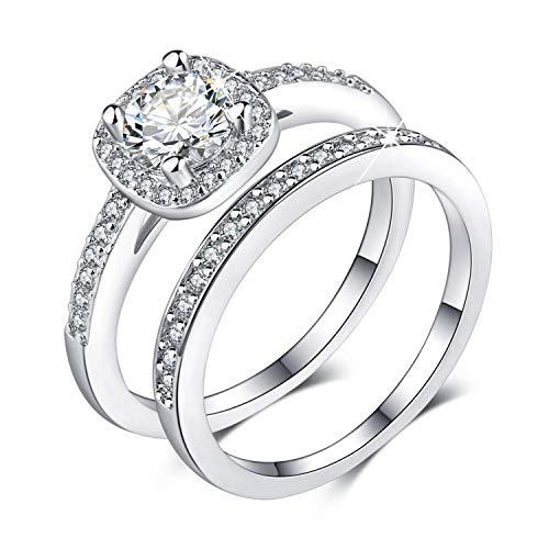 Madeone ✦Gifts for Mother's Day✦ 18K White Gold Plating Excellent Cut Cubic Zirconia CZ Stone Diamond Halo Ring Set for Women with Box Packing Size 5-10 - Ring Square Set Wedding