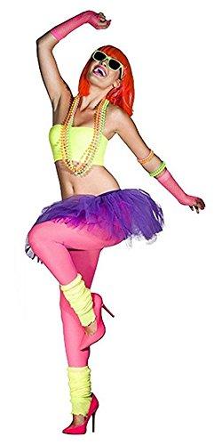 PartyStarz Womens 80s Costume Accessories -Tutu Skirt, Leg Warmer, Mesh Glove, Necklace, Earrings, Hairbow, Tshirt
