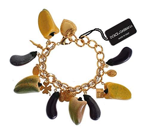 Dolce & Gabbana - Gold Brass Aubergine Paprika Sicily Charms Bracelet (Gabbana Dolce Gold Bracelets)