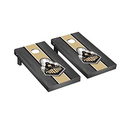 Purdue Boilermakers Regulation Cornhole Game Set Onyx Stained Stripe Version Purdue Boilermakers Bag