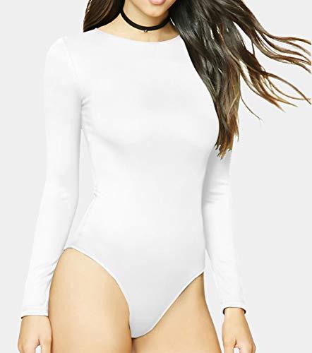 MANGDIUP Women's Long Sleeve Bodysuit Jumpsuit (White, M)