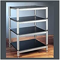 VTI BL404-13 4 Shelf Audio Rack (with 13 bottom shelf clearance) - Silver / Black / Black