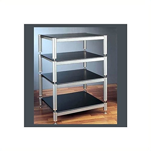 VTI BL404-13 4 Shelf Audio Rack (with 13'' bottom shelf clearance) - Silver / Black / Black by VTI