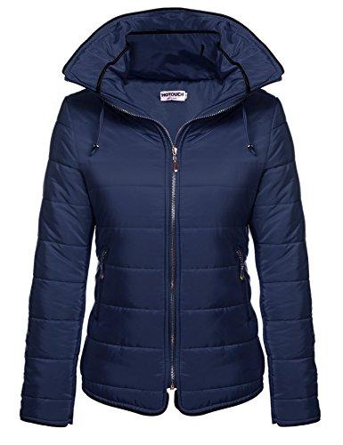 HOTOUCH Women's Down Warm Winter Puffer Bubble Jacket Down Coat (Navy Blue)