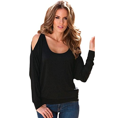 KDHJJOLY Comfortable Womens Sexy Off Shoulder Long Sleeve Both Sides Pullover Blouse T-shirt BlackSmall Effective (70s Womens Hairstyles)