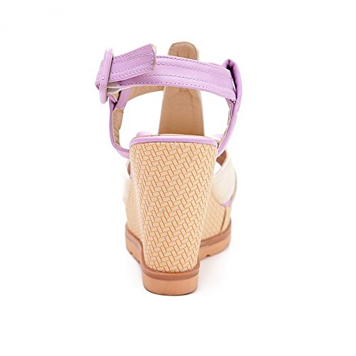 Assorted Buckle Heels Soft Color Toe Material Purple Sandals Open Women's High VogueZone009 x170q0