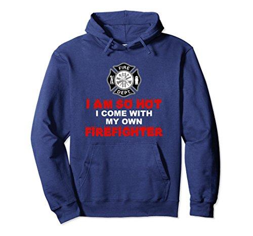 Firefighter Adult Hoody Sweatshirt (Unisex Firefighter Girlfriend or Wife So Hot Hoodie Shirt XL: Navy)