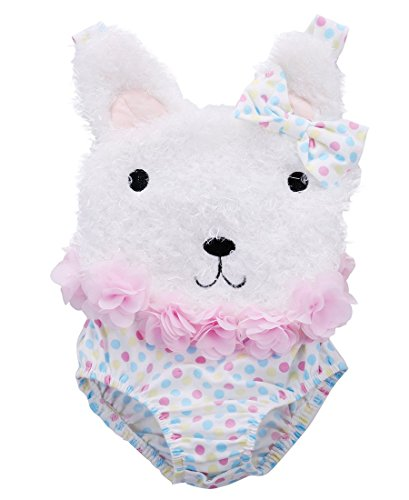 [Baby Girl Clothes Flower Polka Dot Bear Bodysuit Romper Jumpsuit Outfits (6-12 Months, White)] (Korean Costume For Boys Kids)