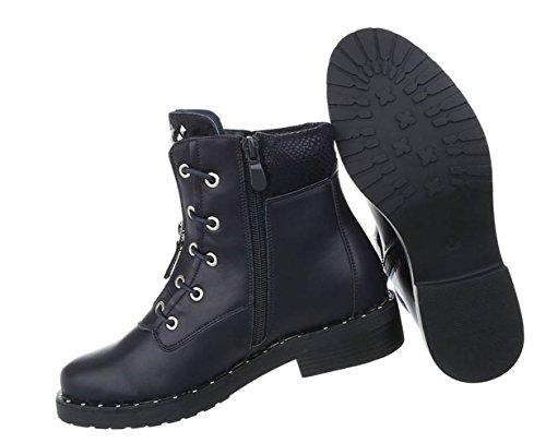 Stylische Damen Stiefeletten | Worker Boots Schnürung | Halbschaft Stiefel | Damenschuhe Schnürstiefel Leder-Optik | Robuste Outdoor Stiefelette | Gelochte Schnürstiefelette | Schuhcity24 Dunkelblau