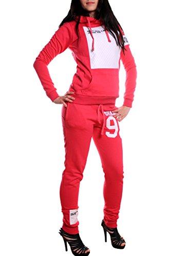 Traje de Mujer Jogging shakur 96, diseño de entrenamiento pantalones de traje de chaqueta de algodón 100%, pantalones y sudadera con capucha con–Riñonera con acanalado, de S hasta XXL rosa/blanco