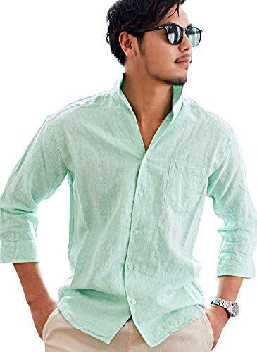 (キャバリア)CavariA メンズ フレンチリネン シャツ イタリアンカラー 7分袖 無地 麻 羽織 CAIR20-03【+】