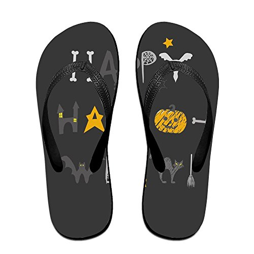 Couple Flip Flops Happy Halloween Print Chic Sandals Slipper Rubber Non-Slip Spa Thong -