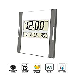 Digital Wall Clock,Silent Alarm Clock with Large LCD Screen with Time/ Alarm/ Snooze/ Month/ Date/ Weekday/ Indoor Temperature (Silver&Gray 2)