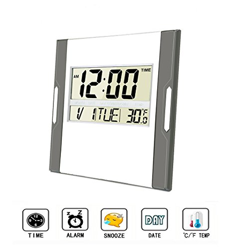 Digital Wall Clock,Silent Alarm Clock with Large LCD Screen with Time/ Alarm/ (Outdoor Wall Mounted Clock)