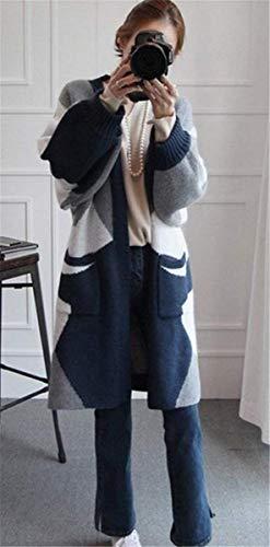 Elasticità Elasticità Elasticità qualità Autunno Donna Lunga Baggy Women Women Women Pattern Confortevole Manica Giubotto Cardigan Blau di Lunga Pullover Tasche Giovane Anteriori Stampate Maglieria Alta Giaccone 7aCq5wCgx