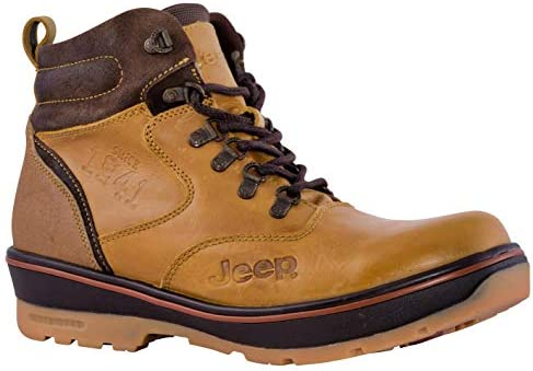 Jeep Mens Brown Boots Hiking Ankle High Leather Outdoor Shoes