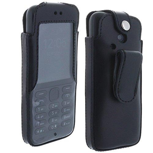 XiRRiX Echt Leder Handy Hülle Tasche mit drehbaren Gürtel Clip für Nokia 215 220 222 - schwarz