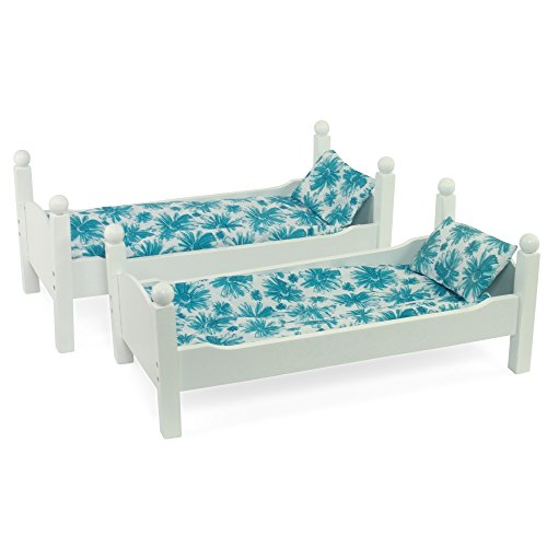 """White Bunk Bed Doll Furniture   Fits 18"""" Inch American Girl Dolls   Includes Vibrant Blue Floral Bedding and Mattresses"""