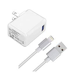 [UL Listed] iPad/iPhone Charger, SZYSK 2.4A 12W USB Wall Charger Foldable Portable Travel Plug with 5FT Lightning Braided Cable for iPhone X/8/8Plus/7/7Plus/6s/6sPlus/6/6Plus/SE, iPad Pro/AirMini,iPod