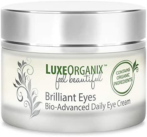 LuxeOrganix Brilliant Eyes Bio-Advanced Organic Under Eye Cream Treatment: Natural Deep Penetrating Moisturizers Smooth and Relieve Dark Circles, Puffiness, Wrinkles, Tired Eye Bags and Eyelids (USA)