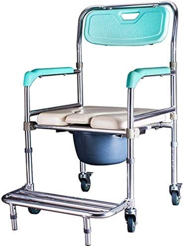GBX Beweglich Faltbare Durablefolding Potty Wc Stuhl, Dusche Mobiltoilettenstuhl Aus Aluminium | Mit Armlehnen Und Removable Fußstützen | Für Senioren, Behinderte, Und Deaktivierte Benutzer, Wc
