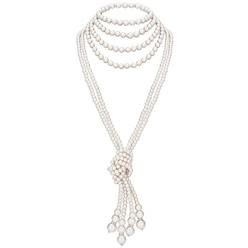 BABEYOND 1920s Imitation Pearls Necklace Gatsby Long Knot Pearl Necklace 49 and 59 20s Pearls 1920s Flapper Accessories (Knot Pearl Necklace2 + 59 Necklace1)