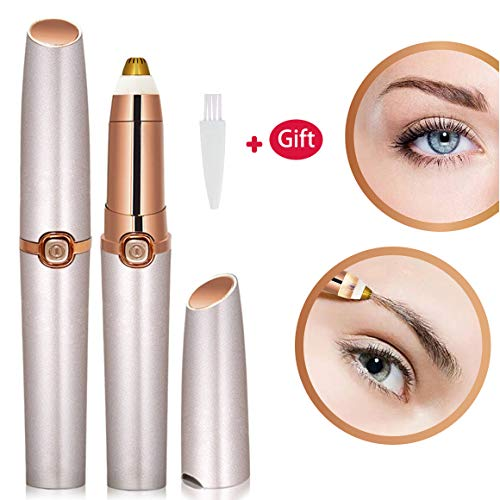 - Eyebrow Trimmer for Women Eyebrow Hair Remover Electric Painless Ficial Hair Remover(Battery NOT Included) (Rose Gold)