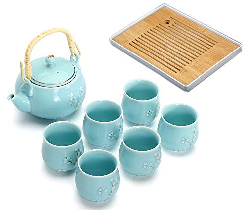 BESTLEAFTEA- Porcelain Tea Set Ceramic Teapot TeaCup KongFu Porcelain TeaSet (Blue)
