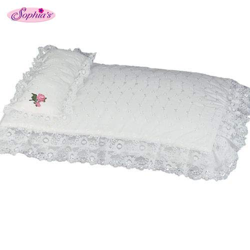 Sophia's White Eyelet Doll Bedding 3pc. Set, Sized to Fit American Girl Doll Beds & More! - Includes Pillow, Doll Comforter & 3rd Bedding Piece (18 Inch Doll Canopy Bed)