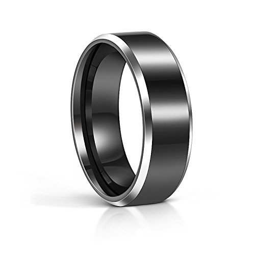 8MM Tungsten Black Flat Top Silver Beveled Edges Wedding Band Rings Comfort Fit Size 4 - 15(7.5)