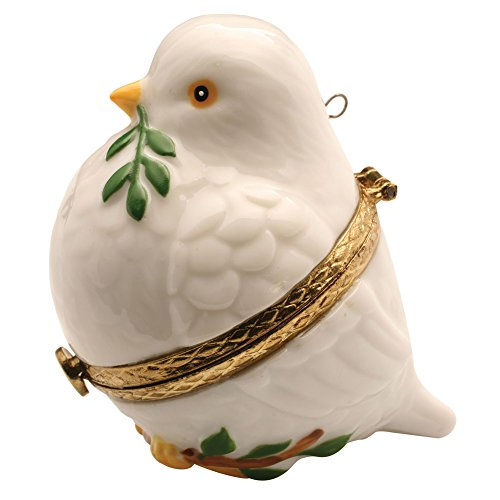 Limoges Porcelain Hinged Box (Porcelain Christmas Tree Hinged Ornament Box - Peace Dove)