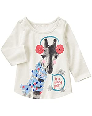 Baby Girls' Giraffe with Earmuffs Graphic Tee