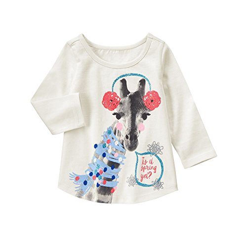Gymboree Baby Girls' Giraffe with Earmuffs Graphic Tee, Snow Bunny, (Gymboree Giraffe)