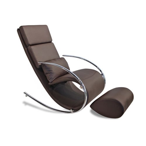 Whiteline Contemporary Modern RC1028P-BRN Chloe Faux Leather Rocker Chair and Ottoman with Chrome Frame, Chocolate