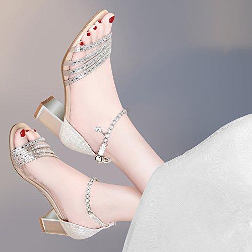 KPHY Sandalen 6 Cm High Heels Sommer Wild Diamond Fransen Fransen Fransen Schnallen Nahen Heels Dicke Schuhe Damenschuhe. ecf104