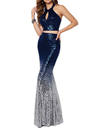 Scarisee Women's Two Pieces Sequins Halter Prom Evening Dresses Mermaid Keyhole Formal Party Gowns Navy Blue & Silver 20 ()