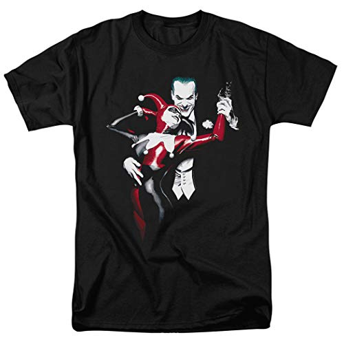 Joker and Harley Quinn Dance DC Comics T Shirt & Exclusive Stickers (Large) Black