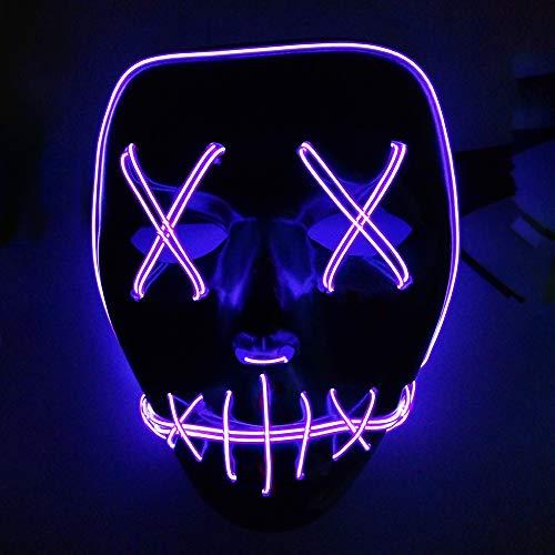 URMAGIC LED Mask Halloween Scary Mask Halloween Panic Mask Night Atmosphere Decorative Face Masks Men Women Wear Led Light-Emitting Ghost Step Mask(Purple) -