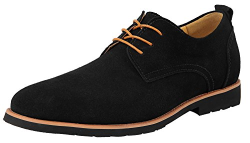 (iLoveSIA Men's Leather Suede Oxfords Shoe US Size 7 Black)