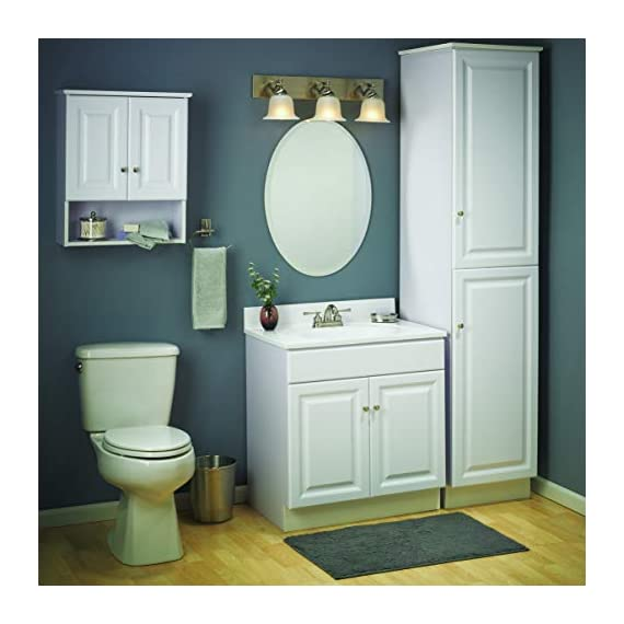 Design House 531731 Wyndham Ready-To-Assemble 2 Door Vanity, White, 24-Inches Wide by 31.5-Inches Tall by 18-Inches Deep - 24 in. W x 18 in. D x 31. 5 in. H Plenty of storage for toiletries to keep your countertop free of clutter Concealed hinges for a clean look - bathroom-vanities, bathroom-fixtures-hardware, bathroom - 41Px8qZgU%2BL. SS570  -