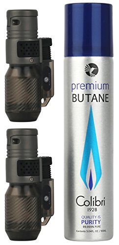 Mantello Cyclone Triple Jet Flame Butane Cigarette Cigar Torch Lighter 2-Pack and Colibri Premium Butane Fuel Refill Can 3.04 oz.