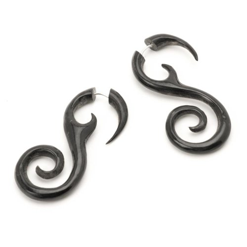 81stgeneration Women's Men's Black Horn Fake Taper Stretcher Spiral Organic Tribal Earrings by 81stgeneration