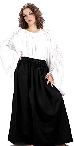 Medieval Renaissance Pirate Eleanor Cotton Skirt Costume [Black] (Eleanor Cotton Skirt)