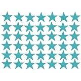 Sticker Mural Déco 42 Etoile 5X5cm Bleu-vert En PVC Pr Maison