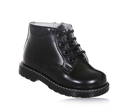 NERO GIARDINI - Schwarzer Stiefel mit Schnürsenkeln aus Leder, made in Italy, seitlich ein Reißverschluss, Jungen