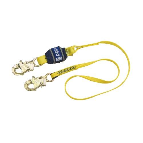 3M DBI-SALA EZ-Stop 1246011 Fall Protection Shock Absorbing Lanyard, 6' Web Single-Leg, Snap Hooks At Each End, Yellow/Navy