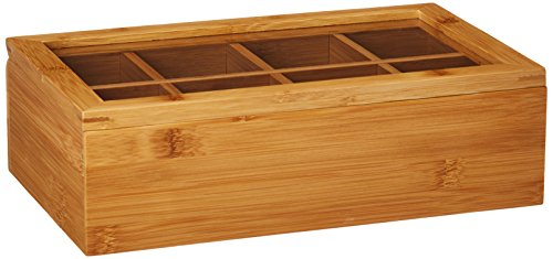 Lipper International 8189 Bamboo Wood Tea Box with Clear Lid, 8 Compartments, 12-1/2